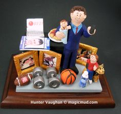 Personalized Christmas Gift for a Father  www.magicmud.com 1 800 231 9814 creating a custom made gift figurine for any man based on the things he likes to do! ...incorporating his work, sports, family, hobbies, food, drink, electronic gadgets, etc. $225 #dad #men #guys #christmas #birthday #anniversary #custom #personalized #xmas #present #award #ChristmasGift #BirthdayGift #husband