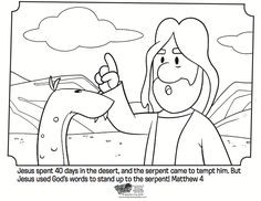 Jesus Tempted in the Desert Coloring Page Activity: Matthew, Mark and Luke Lessons