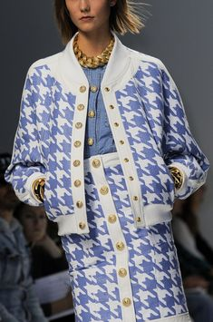 Balmain Spring 2014 periwinkle blue and white plaid skirt and jacket with gold chain necklace