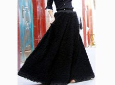 fur maxi  skirtthick  winter long skirt black skirt faux by dongli, $59.99