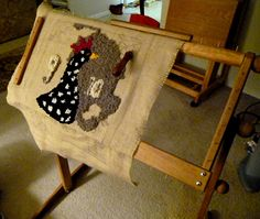 This is a great rug hooking frame: Tom Anderson Rug Hooking Standing Frame