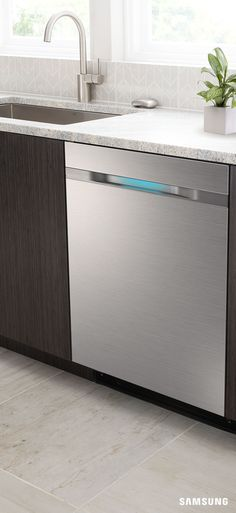 The Samsung WaterWall dishwasher adds an element of boldness to your contemporary kitchen redesign. Its sleek stainless steel pops against dark cabinets, and complements natural materials like granite or marble countertop. Match with stainless steel appliances to complete the polished look.