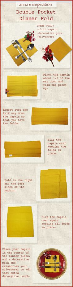 Napkin folding idea you'll love! #AnnasLinens