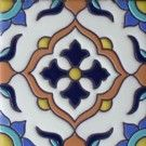 Frost-proof hand painted Mexican ceramic tiles can be bordered with plain Talavera Mexican tile or complemented by washed color wall tile, creating a unique and warm environment.