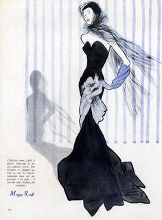 Maggy Rouff 1947 Evening Gown, René Gruau