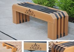 """Noahs Park and Playgrounds - Gateway Bench - This Frog Furnishings bench by Jayhawk Plastics is available in 4' or 6' lengths. It is made with 2""""x6"""" sized Resinwood slats. This modern bench comes with or without an engraved design on the front of the bench. No assembly required. The top and bottom slats are bull-nosed. Street Furniture, Garden Furniture, Diy Furniture, Outdoor Furniture, Outdoor Decor, Noah's Park, Diy Bench, Bench Seat, Park Equipment"""