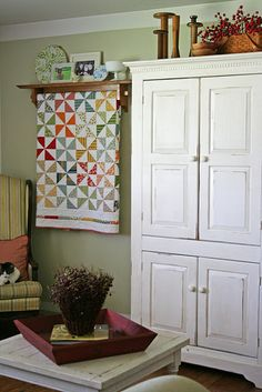 Quilt rack and how to armoir.  like the paint and polyurethane stain!