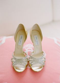 #gold and #glitter Jimmy Choos Photography by abbyjiu.com  Read more - http://www.stylemepretty.com/2013/09/10/north-carolina-wedding-from-abby-jiu-salt-harbor-designs/