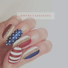 mynailsaredope:  Happy early July 4th!  All my mani's be looking the same nowadays.. Need to stop being a lazy little shit and do new styles lol #nails #nailart #dope