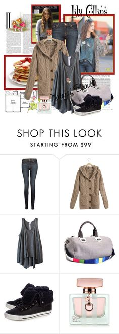 """""""LILY COLLINS"""" by k-hearts-a ❤ liked on Polyvore featuring J Brand, Wilt, Meredith Wendell, Ash, Gucci, jeans, cardigans, bags, winter and lily collins"""