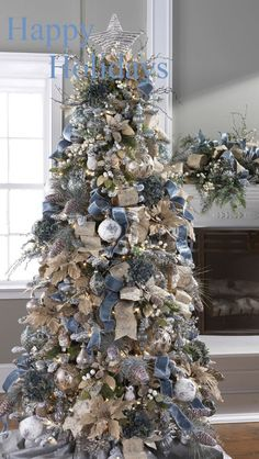 Winter Christmas tree decoration with blue, gold and silver along with burlap ornaments. decor blue gold 20 Most Adorable Collection Of Rustic Christmas Tree Decor Ideas - Blurmark Blue Christmas Decor, Silver Christmas Tree, Beautiful Christmas Trees, Christmas Tree Themes, Noel Christmas, Xmas Decorations, Rustic Christmas, Christmas Tree Ribbon, Champagne Christmas Tree