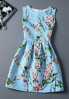 Cherry blossom floral dress but in BLUE
