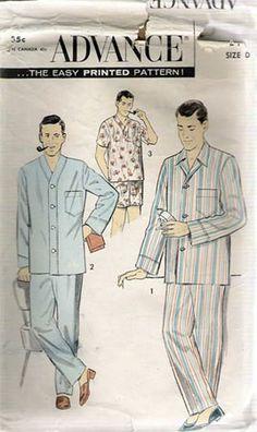 Advance Mens 1950 Pajamas Sewing Pattern #8217