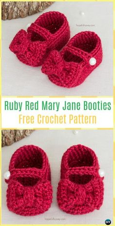 Crochet Ruby Red Mary Jane Booties Free Pattern - Crochet Baby Booties Slippers Free Pattern