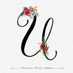 Letter U Watercolor Floral Background Flower Alphabet, Monogram Alphabet, Cute Couple Art, Cute Couples, Letter Art, Letter Logo, Alphabet Writing, Diy Letters, Dark Wallpaper