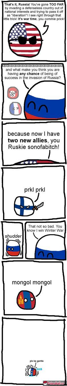 America fights Russia (America,Russia,Finland,Mongolians)