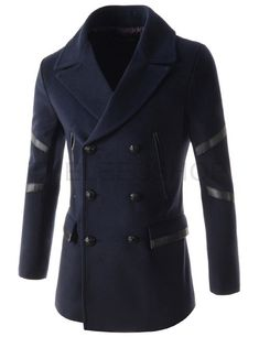 (DMC03-NAVY) Mens Slim Fit Big Lapel Double Breasted Leather Patched Thin Padded Coat