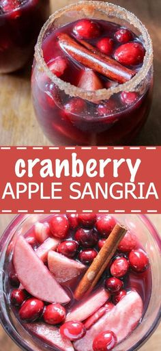 Cranberry Apple Sangria recipe! This cocktail is a great thanksgiving recipe. Made with red wine, cranberry juice and lots of fruit, you can make it ahead of time for your family and friends.