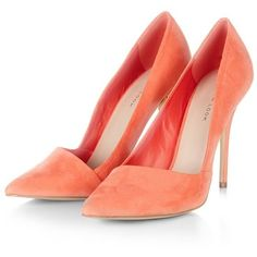 Coral Pointed Court Shoes (2.310 RUB) ❤ liked on Polyvore