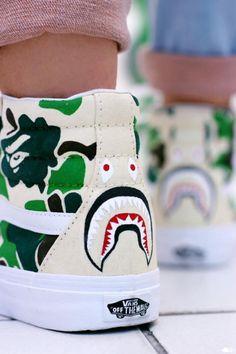 Vans x Bape Sneakers Shoes, Custom Sneakers, Custom Shoes, Vans Shoes, Balenciaga, Urban Fashion, High Fashion, Mens Fashion, Adidas