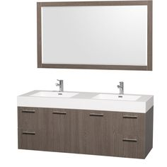 "Amare 60"" Gray Oak Wall Mounted Bathroom Vanity Set with Integrated Sinks"