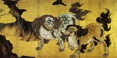 Chinese Lions (唐獅子図) / Kano Eitoku (Japanese painter, ca 1543 - He lived during the Azuchi–Momoyama period of Japanese history and one of the most prominent patriarchs of the Kano school of Japanese painting. Korean Painting, Feuille D'or, Fu Dog, Japan Painting, Art Asiatique, Japanese History, Art Japonais, T Art, Great Paintings