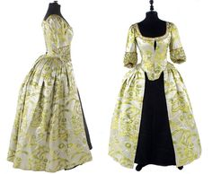 Silk satin brocade open robe, ca. 1740s, England. Provenance:  'Lady Frances Clemant's Wedding Dress. Married at Westminster Abbey.'   The bold brocade of bright yellow, green and ivory silk, the centre-front fastening bodice with a fourreau back and shaped elbow-length sleeves trimmed with ruched brocade and passemanterie, the skirt open (lacking petticoat), the bodice lined with glazed cotton. Bonhams