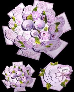 Lilac Flowers Shaped Exploding Box on Craftsuprint designed by Sandie Burchell - made by Dianne Jackson - admire for a while first.- Beautiful Hexagon Shaped Exploding Box with plenty of optional dimensional decoupage and paper ribbons for the inside Memories Box, Exploding Gift Box, Organizer Box, Gift Wraping, Pop Up Box Cards, Shaped Cards, Lilac Flowers, Fancy Fold Cards, Flower Shape