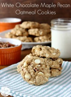 White Chocolate Maple Pecan Oatmeal Cookies l www.a-kitchen-addiction.com