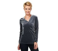Pin to Win #SusanGraver Sweepstakes! {Stretch Velvet Surplice Wrap Top with Long Sleeves} Enter here: http://sweeps.pinfluencer.com/QVC