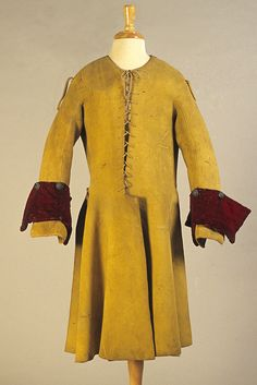 Man's buckskin coat with velvet cuffs, English, late 17th century, KSUM 1983.1.12.