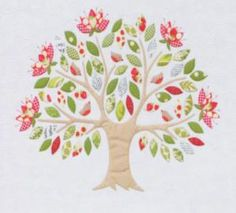 appliqued family tree
