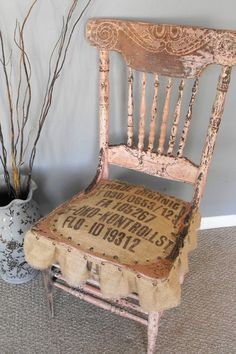 re-cushioned Antique Chair. This is a fun, chic chair done Anthropologie style! It is very old and weathered, with aged chipped paint in a light pink with a seat and skirt designed out of a vintage, burlap coffee bean sack. Complete with nailhead trim Furniture Projects, Furniture Makeover, Diy Furniture, Old Chairs, Antique Chairs, Antique Desk, Redone Chairs, Refurbished Chairs, Dining Chairs