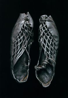 Bog body shoes dating from around 400 BC in Europe. Photos for National Geographic