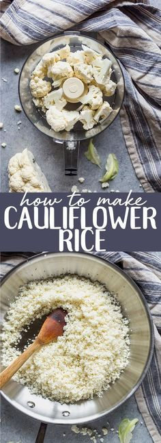 Learn how to make cauliflower rice at home in less than 5 minutes! Two ways - you can use a food processor or not! This is a great low carb substitute in all kinds of recipes! |Whole 30 | Paleo | Gluten free | keto