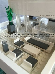 """LEGO Modern House - Redux - in the Style of Mid-Century Modern Architecture by Bricksare4me - as seen at BrickCan 2016 in Vancouver BC - awarded """"Best Edifice"""" - 2nd floor rear balcony"""
