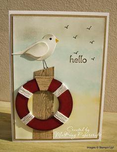 Sea gull with life buoy