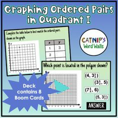 Students will test their knowledge on how to graph in the first quadrant of the coordinate plane using these 8 questions. The questions progress in difficulty with the first coordinate plane counting by whole numbers and then the second half of the problems are counting by halves. The questions incl... Multiple Choice, Counting, Plane, Two By Two, Numbers, Students, Knowledge, Teaching, This Or That Questions