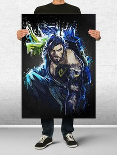 Hanzo Overwatch Poster Art Print Watercolor Wall Decor Game Print Poster Gift