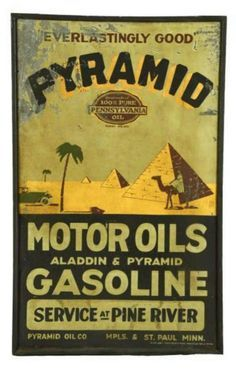 Pyramid Motor Oils & Gasoline Tin Sign