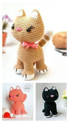 Chat Crochet, Crochet For Kids, Free Crochet, Diy Crochet Cat, Unique Crochet, Crochet Cat Pattern, Crochet Amigurumi Free Patterns, Crochet Crafts, Crochet Projects