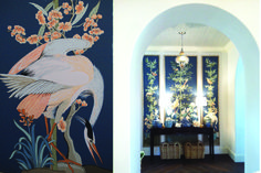 Chinoiserie Triptych paintings by Allison Cosmos, Interior Design Summer Thornton