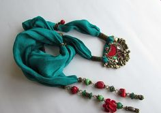 Vintage Kuchi Charms    Scarf Necklace  OOAK  Silk by MUsShop