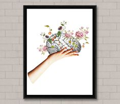 This surreal brain art print would make a fantastic addition to any gallery wall, office, or dorm room. The flowers springing from the brain is a spiritual find; it has an amazing boho/hippie feel to it.  Art Print from a digital collage. Paper: 250g smooth cardboard paper.  Available sizes: A4 - 8 x 11 (30 x 20 cm) A3 - 11.70 x 16.55 (42 x 30 cm) Please note that the frame is not included in the sale, it's for illustrative purposes only and consider that the colors you see on your monit...