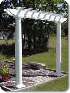 Vinyl Pergolas: The Gateway. Available in a wide range of configurations, this pergola can add a lot of interest and beauty to your deck, patio, or garden. This pergola uses a x double beam with pergola ends and x rafters with pergola ends. Diy Pergola Kits, Vinyl Pergola, West End, Backyard, Deck Patio, Herb Garden, The Great Outdoors, Gardening Tips, Beams