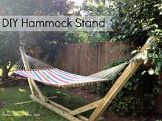 How to Make a DIY Hammock Stand.  I have 2 hammocks from the thrift store and no trees to hang them from…camping is the only way!