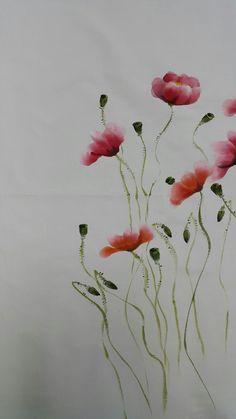 양귀비꽃 : 네이버 블로그 Watercolor And Ink, Watercolor Flowers, Watercolour Painting, Painting & Drawing, Saree Painting Designs, Poppy Decor, Beginning Watercolor, Hand Painted Fabric, Wave Art