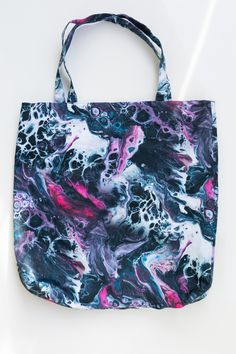 Digitally printed on 100% Organic Cotton Drill and handmade in Peckham. Abstract fluid painting pattern design on sustainable unisex tote bag.