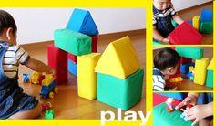 牛乳パックを再利用して 積木を作るという商品があります。 「牛乳パック 大きな積木」  これを息子が11ヶ月の頃に購入し、 早速、立方体と角柱は作ったものの・・・ 三角柱は作るのが面倒になって、 かれこれ半年近くもほったらかしにしていました(反省)。  ところが彼も1歳5ヶ月。 ...