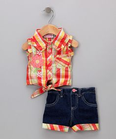 Look at this #zulilyfind! Young Hearts Orange Plaid Tank & Shorts Set - Toddler & Girls by Young Hearts #zulilyfinds